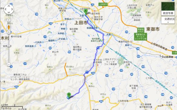 上田駅から児玉家まで